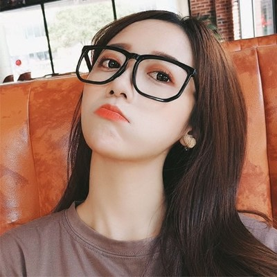 Big face glasses frame myopia female round face tide oversized black frame glasses male flat mirror Korean version full frame retro glasses frame