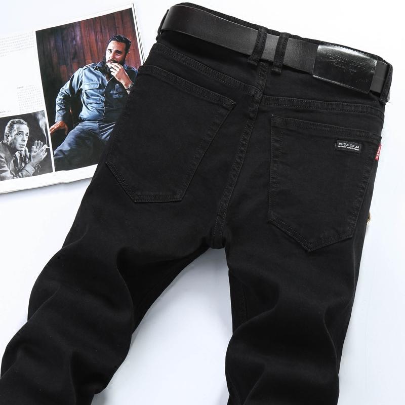 新款春季男士纯黑色直筒牛仔裤男修身男式休闲薄款弹力牛子裤长裤