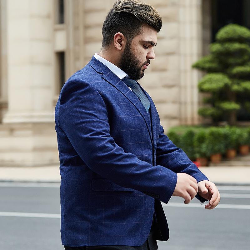 男大码格子西装加肥加大号外套青年胖子男士休闲单西服特体男装