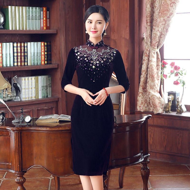 2016新款改良真丝旗袍长款中袖秋装优雅修身大码显瘦复古旗袍日常
