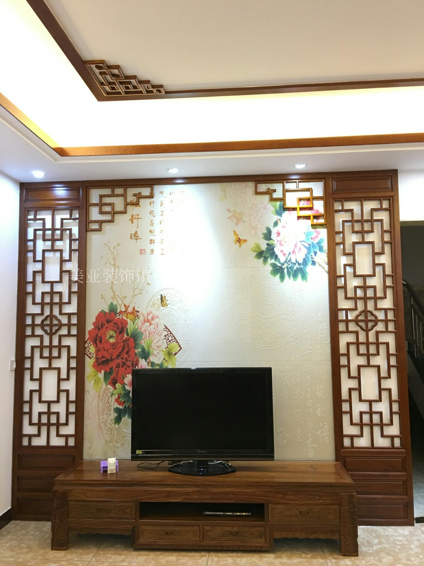USD 728.93] Living room Chinese style pine TV background wall ...