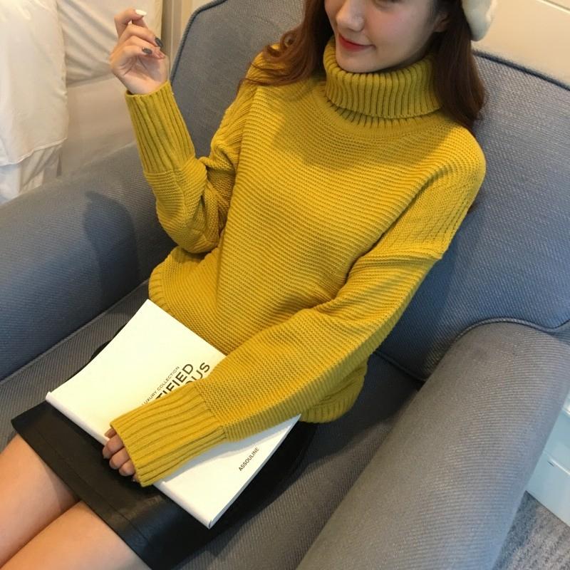 高领毛衣女套头韩版宽松学生百搭秋冬新款针织打底衫长袖短款加厚