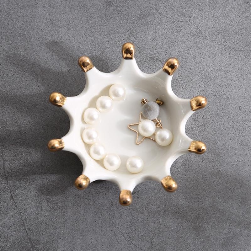 Нордический золотой императорская корона керамика ювелирные изделия блюдо ювелирные изделия кольцо ожерелье стенды лоток континентальный творческий домой декоративный статья