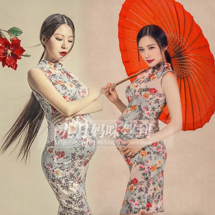 66 Flowers Rental Pregnant Women Photographed Clothing Photography Portrait Vintage Modern Cheongsam Photo Studio Pregnancy Clothes