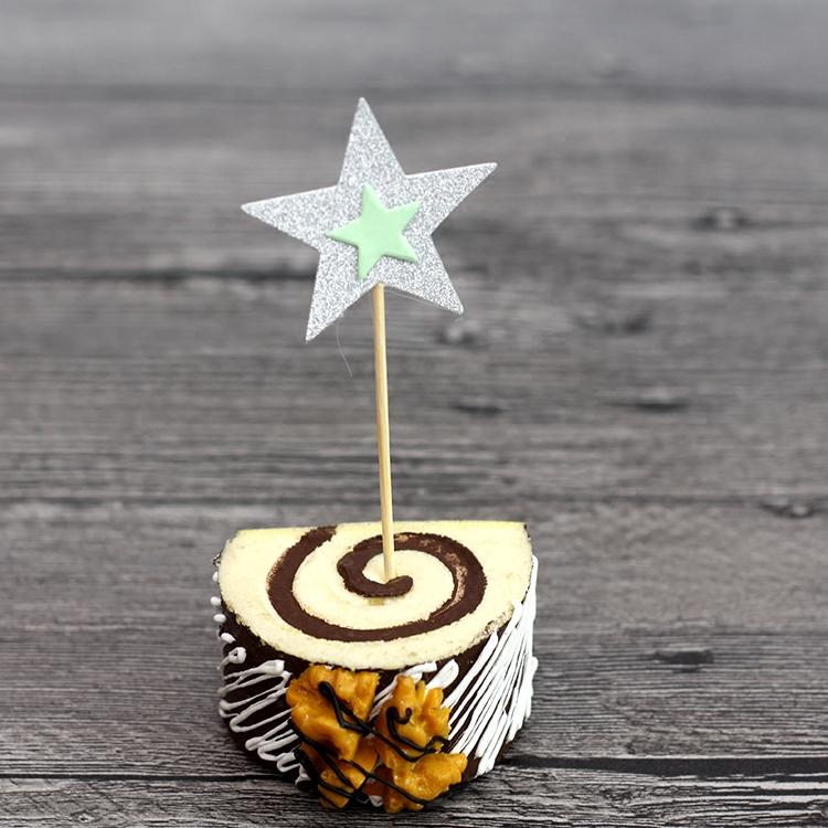 Праздничное украшение Торт украшение двойной яркий пятиконечная звезда 4-Цвет десертами день рождения Торт украшение плагин флаг патч карт