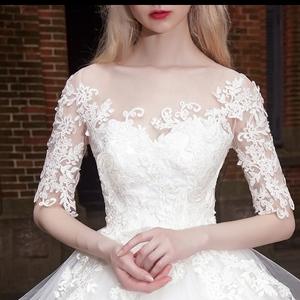 一字肩婚纱礼服新款夏时尚公主蓬蓬裙新娘显瘦齐地拖尾梦幻女