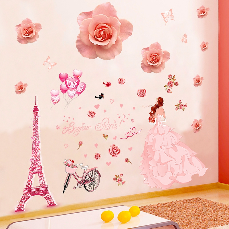 USD 11.18] Red rose Wall Stickers romantic bedroom living room TV ...