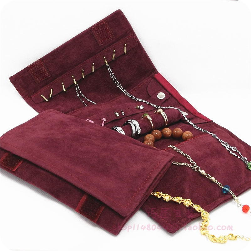 酒红小首饰卷包绒布旅行首饰展示袋收纳包首饰袋绒布袋