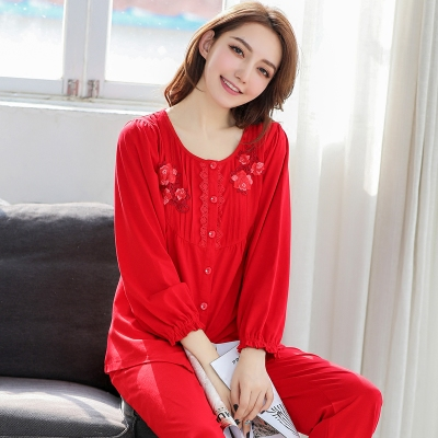 cc826a8f1 Jindai spring and autumn lady mercerized cotton long-sleeved red pajamas  celebrate the wedding year