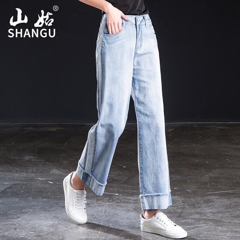 2018新款欧货侧条纹高腰卷边九分直筒裤