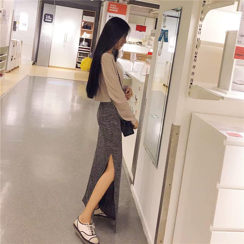 【天天特价】春夏短款露脐针织套头打底衫短袖T恤高腰修身上衣女