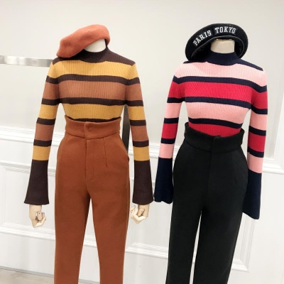 ICE STUDIO2017 winter new women's wide stripe within the thickened fight color stripe sweater