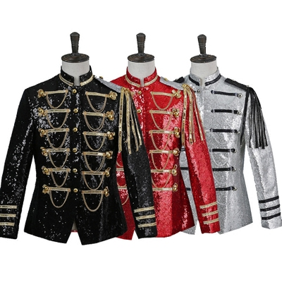 Men Classic Court Blazer Stage Costumes For Singers DJ Paillette Silver White Red Black Slim Fit Sequin Suit Jacket