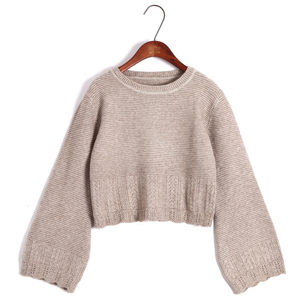 Người đàn ông nhỏ bé trùm đầu vòng cổ siêu ngắn đoạn áo len nhỏ nữ lộ rốn eo cao tay loe áo len đan buông thả mùa thu đông - Áo len cổ chữ V