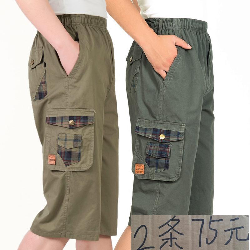 Bajiang rồng trung niên của nam giới chiến đấu cotton bảy quần men casual loose cao eo quần cha quần short 7 quần