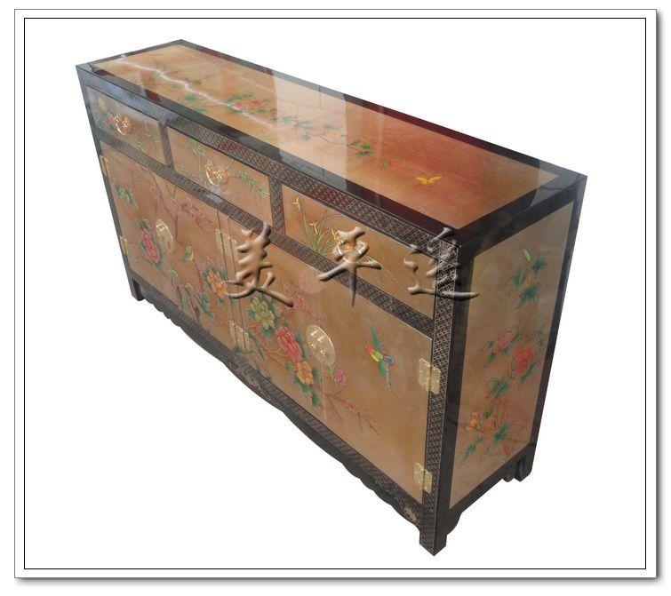 Шкаф в коридор Фабрика прямой три четырех дверный Пион Плам Чистка Пинъяо лака мебель хранения кабинета крыльцо обеденный стул стороне