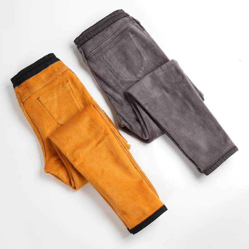 Fat sister thickening increases in cashmere grey high waist jeans women smoke and fat XL winter velvet feet long pants