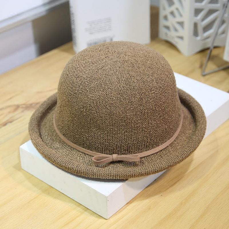 女士夏季个性卷边小礼帽 学生休闲出游圆帽 盆帽 遮阳帽 英伦复古