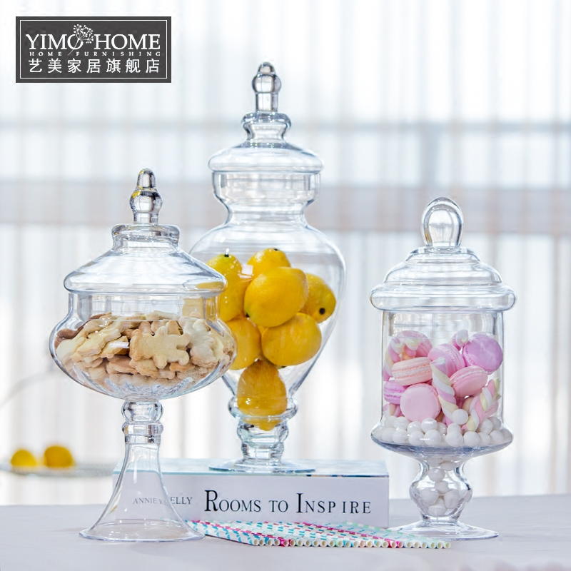 Usd european transparent with lid glass candy jar for Wedding table organizer