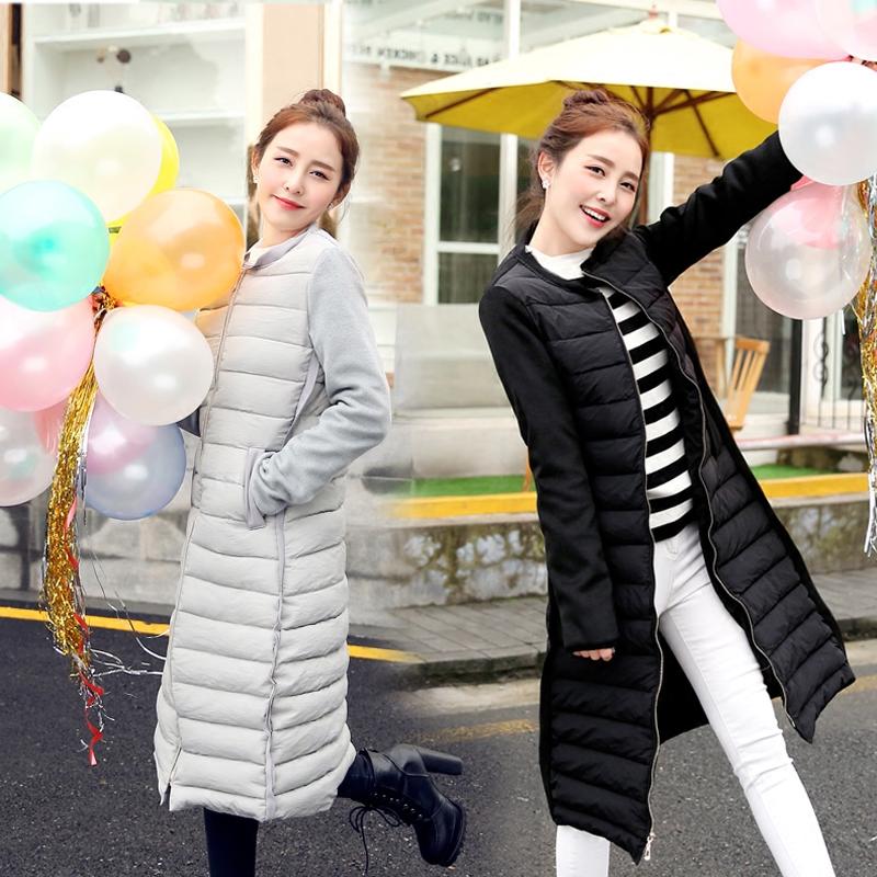 2015冬季新款韩版女装过膝中长款棉衣时尚修身连帽加厚棉服外套潮