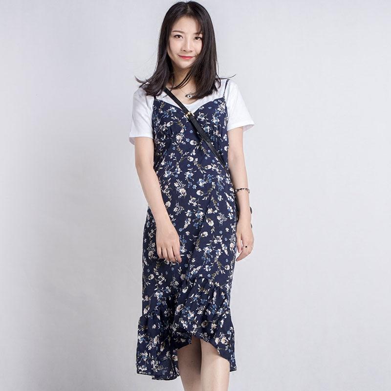 樱萘连衣裙女夏2018新款雪纺碎花中长款藏蓝气质吊带鱼尾裙遮肚子