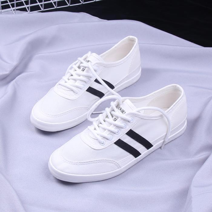 帆布夏季人本鞋韩版2020百搭小白鞋缕空透气网面学生v帆布女鞋板鞋