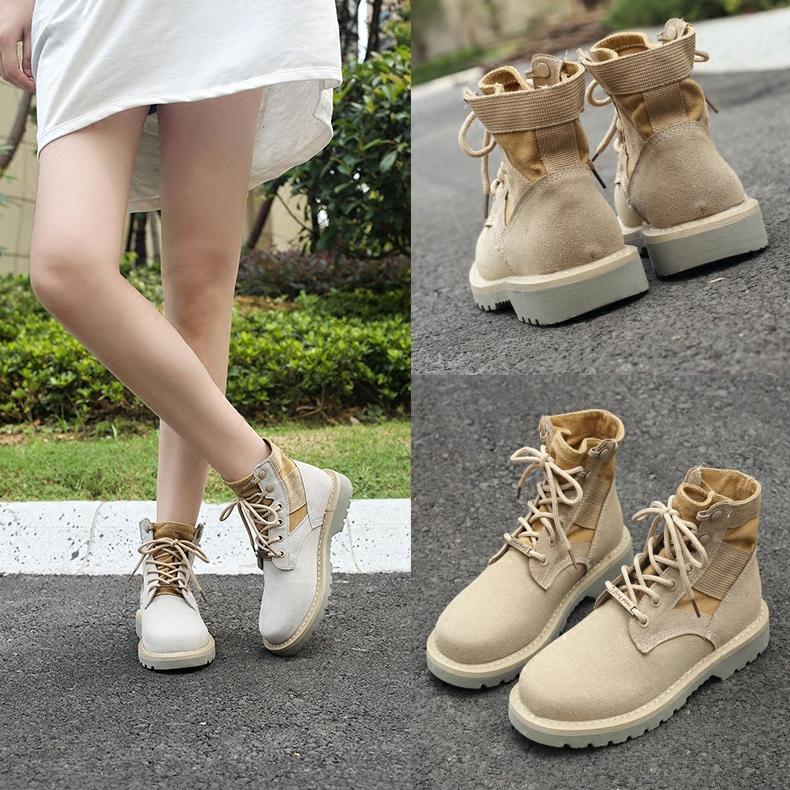 马丁靴女春秋季英伦风高帮鞋平底靴子复古粗跟短靴工装沙漠女靴子
