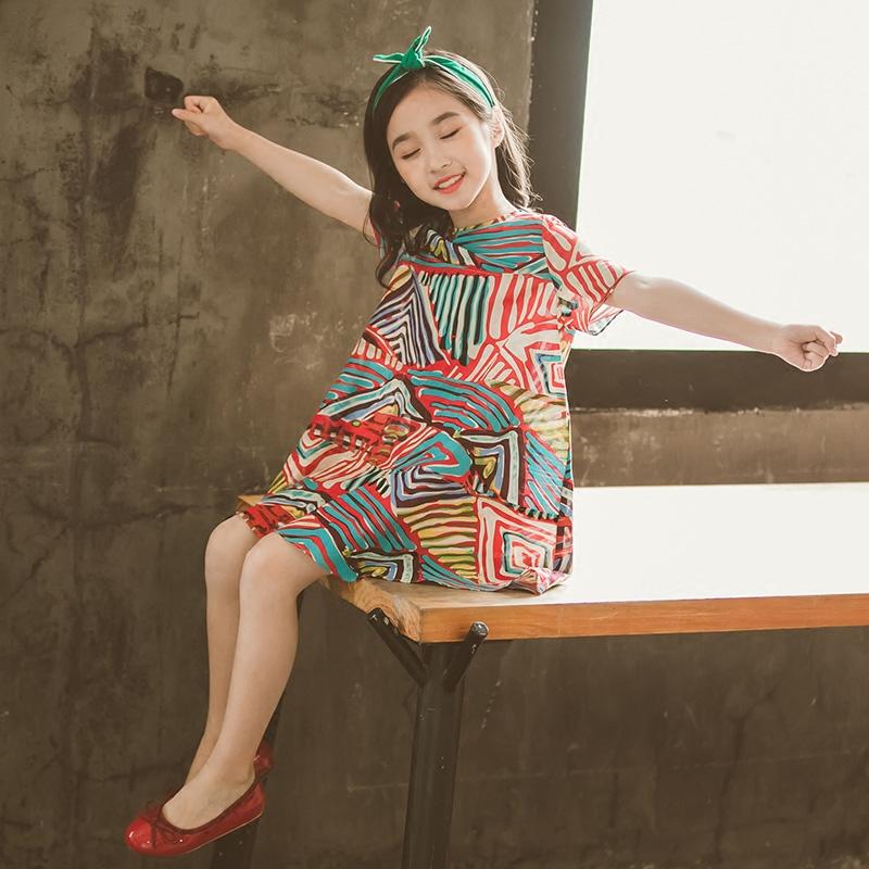 短袖女童夏装2018新款公主裙子连衣裙洋气韩版儿童中大童女孩衣服