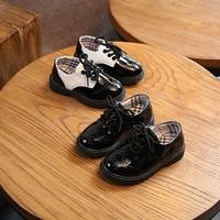 Весна 2019 новая коллекция детские башмак на мальчика черный кожаная обувь Малые и средние школьники детские шоу туфли для отдыха башмак