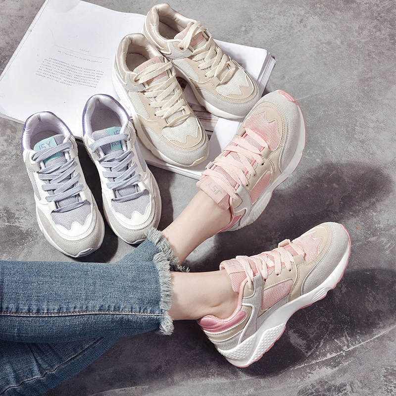 Korean version of ulzzang sports shoes female students tide 2018 spring wild Harajuku style casual running shoes flat shoes