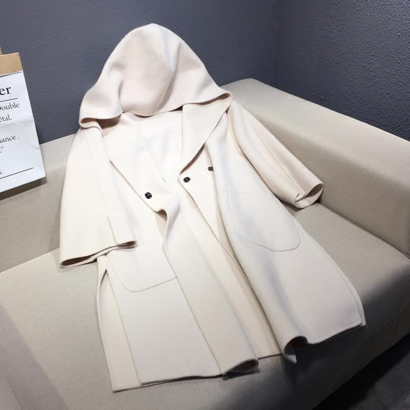 2017秋季韩版新款中长款连帽毛呢外套无羊绒手工羊毛呢子大衣女潮