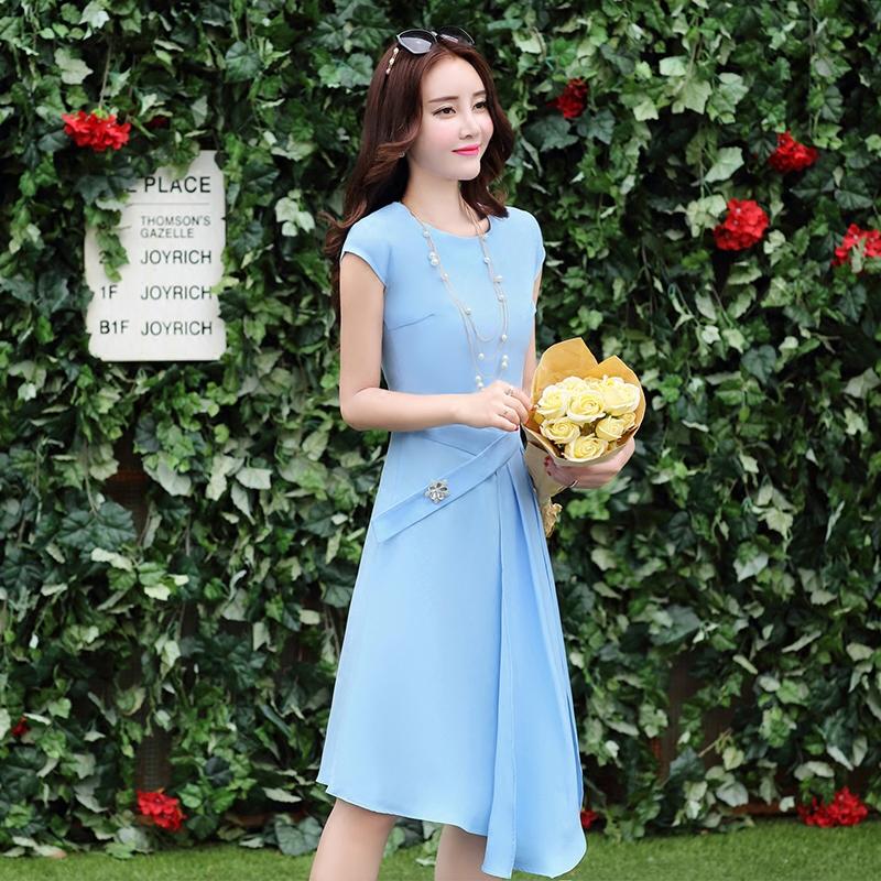 2016夏装新款女装连衣裙 韩版潮短袖职业OL纯色淑女中长棉布裙子