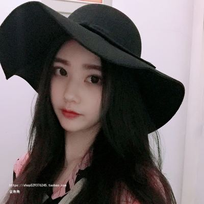 Korean casual woolen hat female autumn and winter England retro top hat wild tide dome black big visor