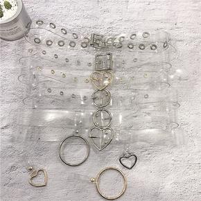 塑胶透明皮带女简约百搭韩国学生个性圆扣带圆圈装饰连衣裙腰带宽