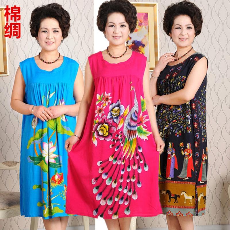 中老年女装连衣裙夏韩版宽松棉麻短袖中年夏季人造棉妈妈装绵绸裙