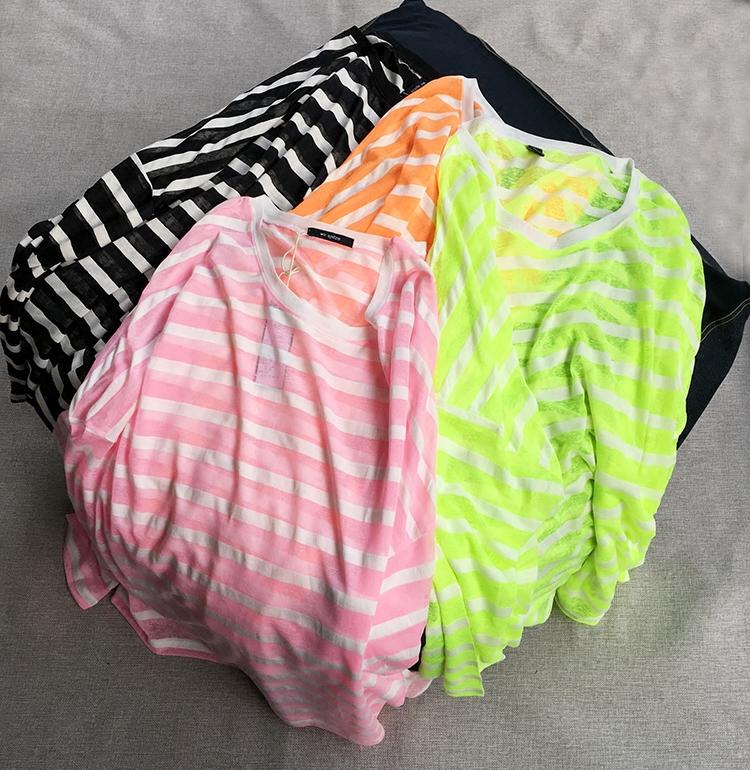 韩版宽松大版荧光条纹薄款透视长袖针织衫女夏中长款防晒空调罩衫