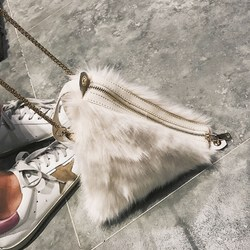 Maori small bag 2017 autumn and winter new wave Korean version of the wild Messenger ulzzang chain plush shoulder bag