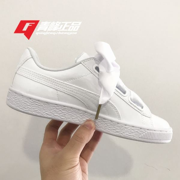 Puma 彪 shoes white bows ribbon white leather women s shoes casual shoes  363073-02 878fef977
