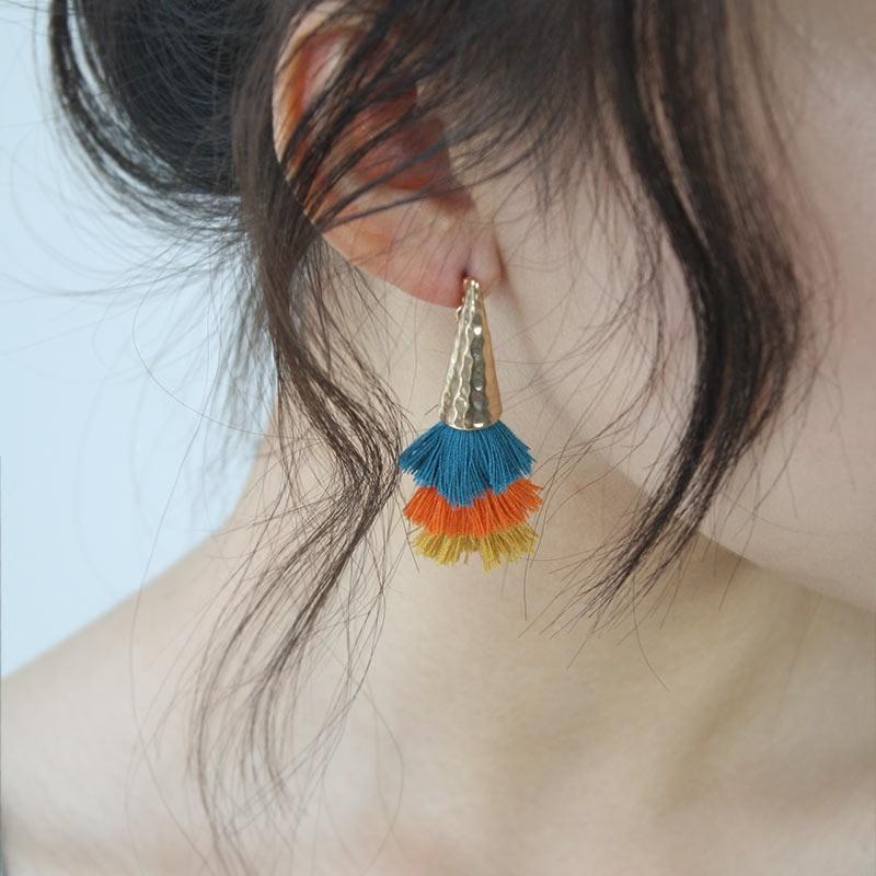 耳环短款简约女韩国气质个性小巧高端蓝橘黄彩色流苏耳钉时尚饰品