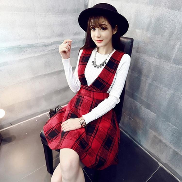 2015秋装新款韩版女童时尚格子背带短伞裙字母纯棉长袖T恤两件套