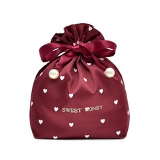 Sweet cute love printing soft silk fabric embroidery mini panties sundries travel storage bag bunch pocket