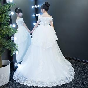 Cô gái fluffy trẻ em váy cưới đuôi dài hoa cô gái váy sinh nhật buổi tối ăn mặc công chúa váy trang phục của trẻ em