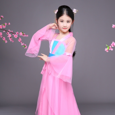 Chinese Folk Dance Dress Children's costumes Hanfu Fairy Guzheng performance clothing dress girls costumes chaise tails COS Tang suit