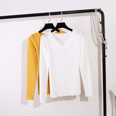 2017 autumn new Korean version of the v-neck Slim wild long-sleeved ice silk sweater women's bottoming shirt T shirt shirt women's clothing
