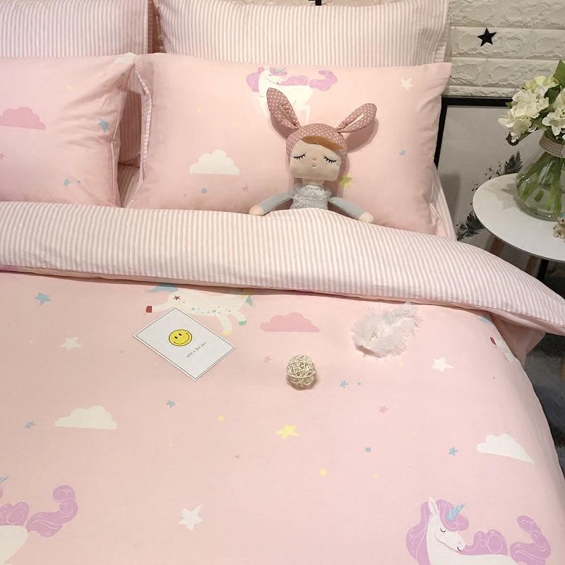 全棉可爱卡通小清新少女粉色被套四件套纯棉学生宿舍单人床三件套