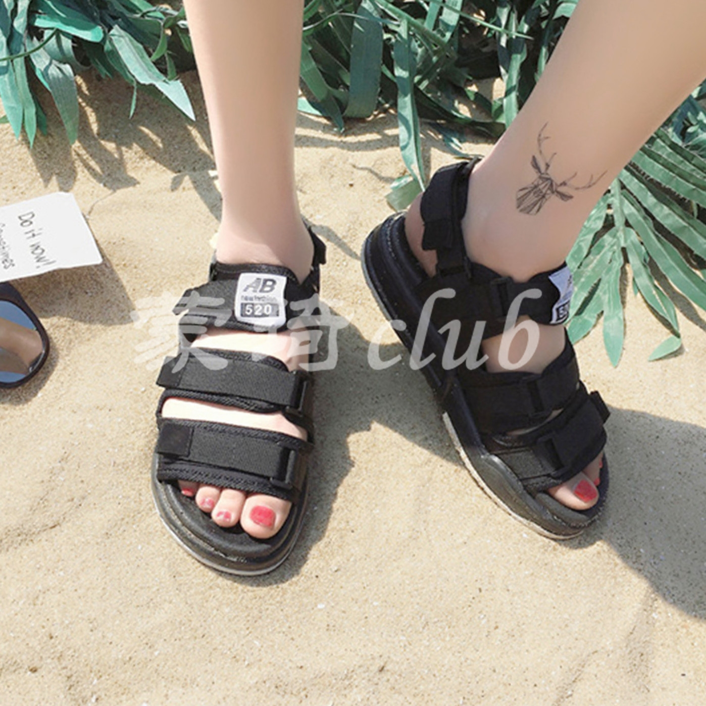 New couple sandals female Korean version Harajuku port wind Roman leisure Harajuku wild Vietnam beach shoes men and women shoes