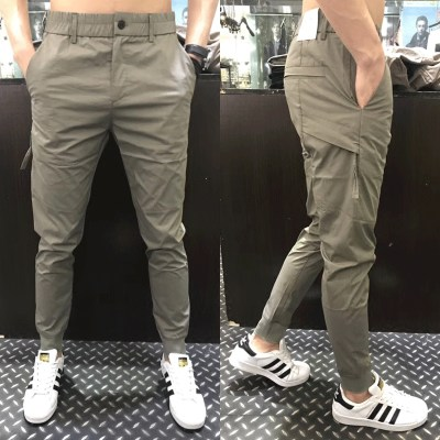 Casual pants men's spring summer new men's slim bouques Korean fashion trend youth elastic foot pants tide