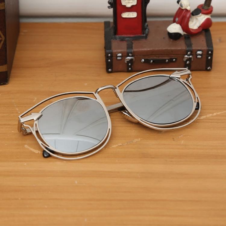 男女个性墨镜白 明星款黑超圆脸太阳镜 韩版复古圆形大框太阳眼镜