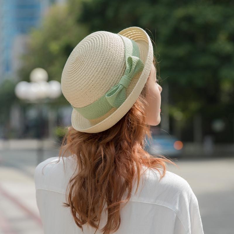 太阳帽女草帽a草帽出游遮阳沙滩海边韩版夏日海边防晒卷边v草帽帽子