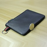 Men's and women's thin coin purse, leather zipper, cowhide small wallet, card case, driver's license key coin case